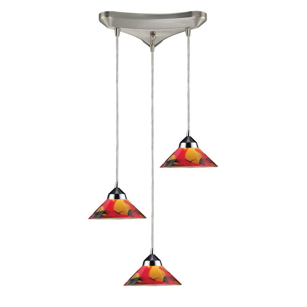 3-Light Ceiling Mount Polished Chrome Pendant