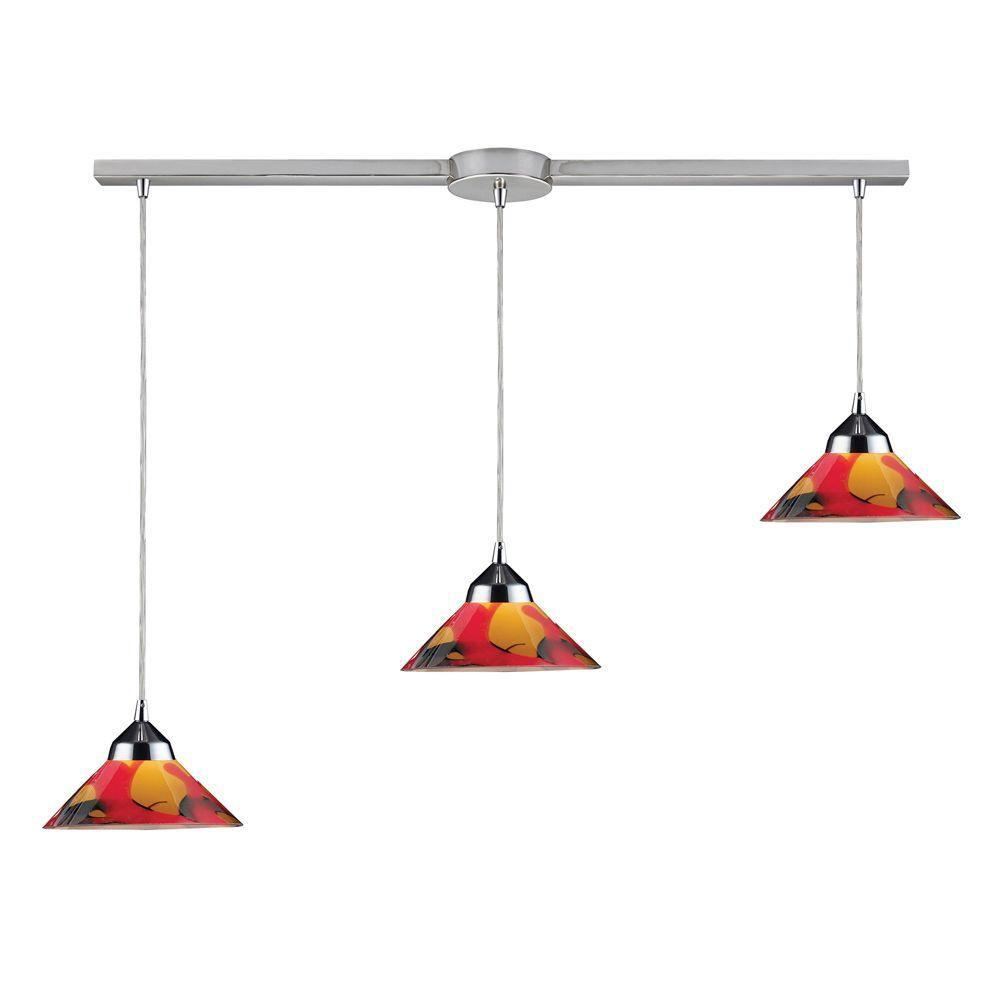 3-Light Ceiling Mount Polished Chrome Pendant