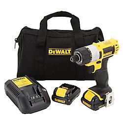 DEWALT 12V MAX Li-Ion Cordless 1/4-inch Screwdriver Kit w/ (2) Batteries 1.5Ah, Charger and Contractor Bag