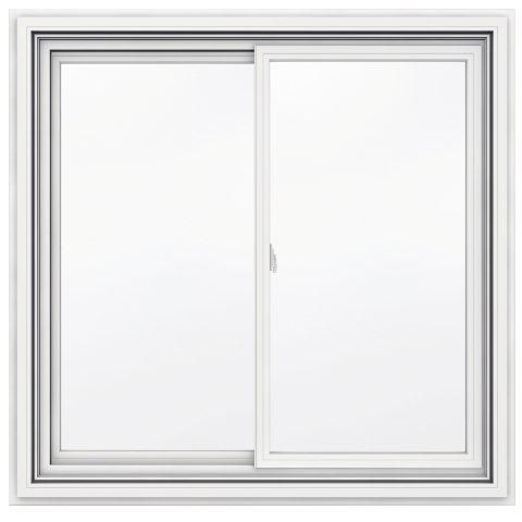 48-inch x 47-inch 5000 Series Vinyl Double Sliding Window with J Channel Brickmould
