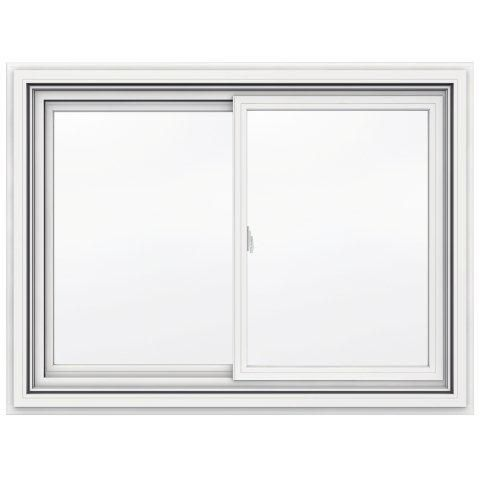42-inch x 31-inch 5000 Series Vinyl Double Sliding Window with J Channel Brickmould