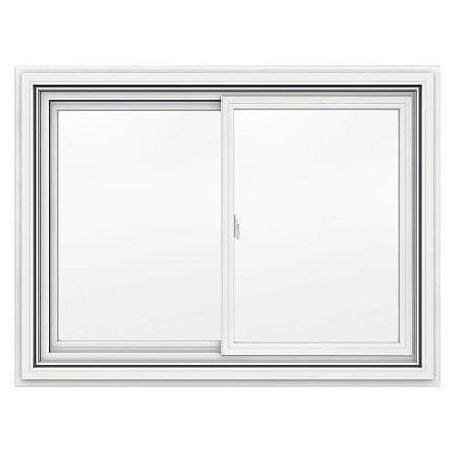 JELD-WEN Windows & Doors 42-inch x 31-inch 5000 Series Vinyl Double Sliding Window with J Channel Brickmould - ENERGY STAR®