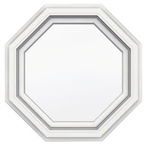 24-inch x 24-inch 5000 Series Vinyl Octagon Window with with J Channel Brickmould