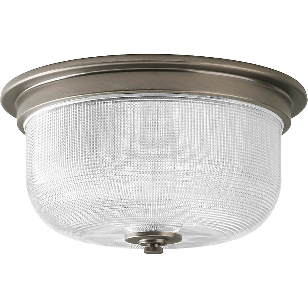 Archie Collection 12-inch x 6-inch 2-Light Flush Mount Fixture in Antique Nickel