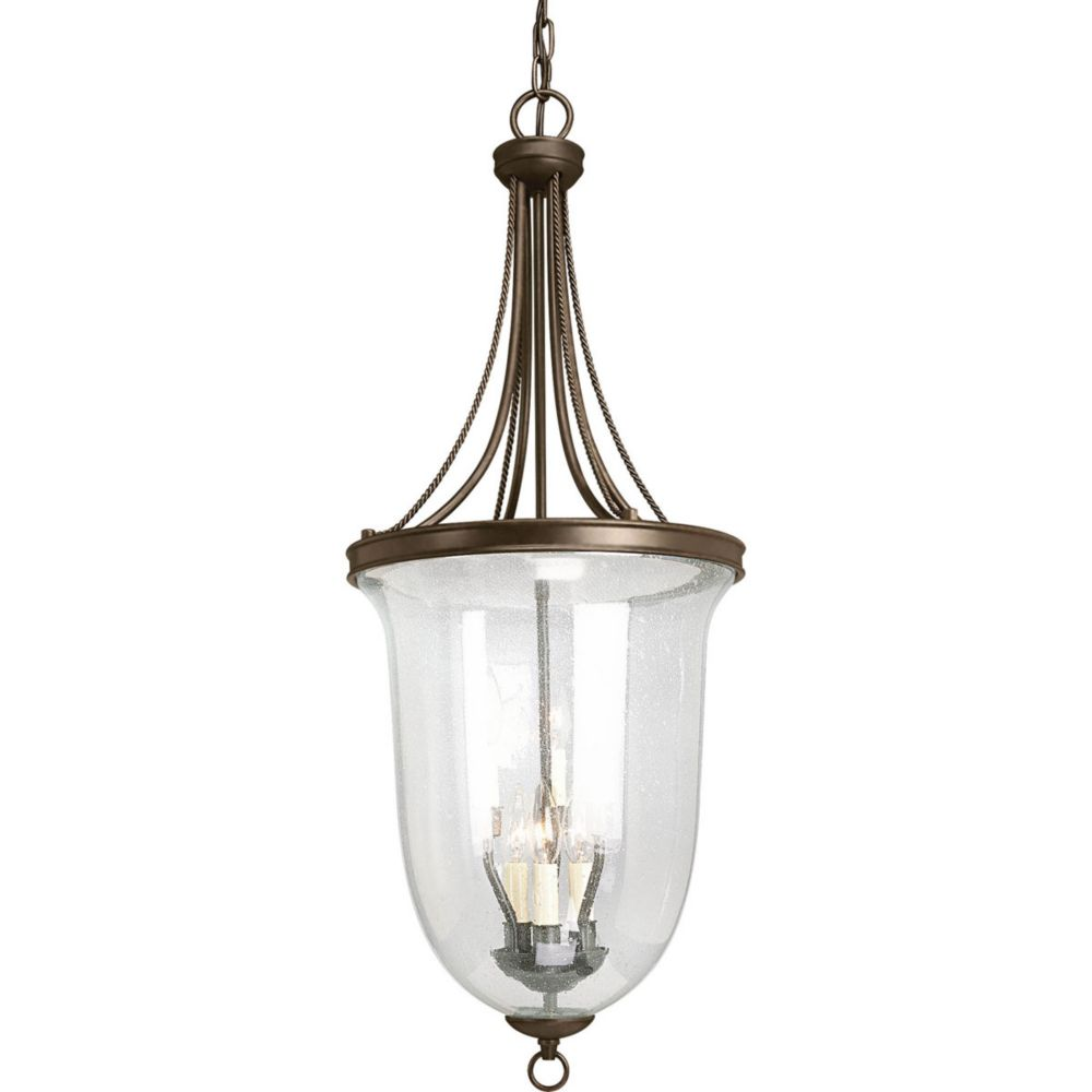 Seeded Glass Collection 6 Light Antique Bronze Foyer Pendant