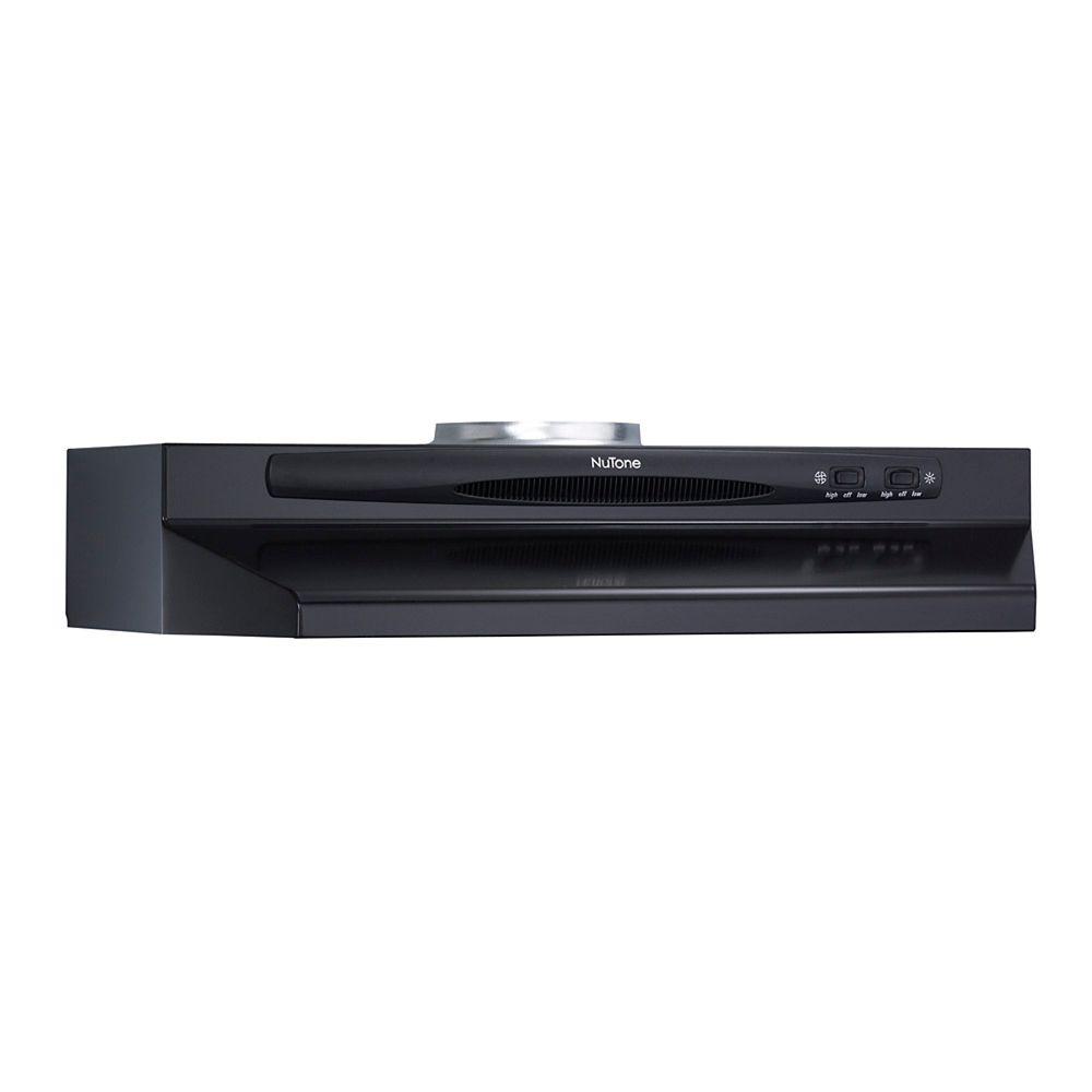 30-inch, 180 CFM Under Cabinet Range Hood with Rocker Fan in Black