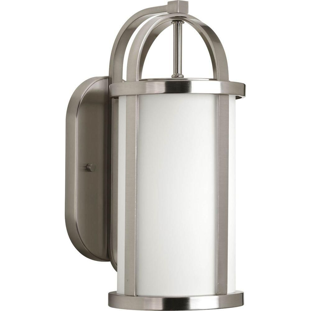 Greetings Collection 1 Light Brushed Nickel Wall Lantern