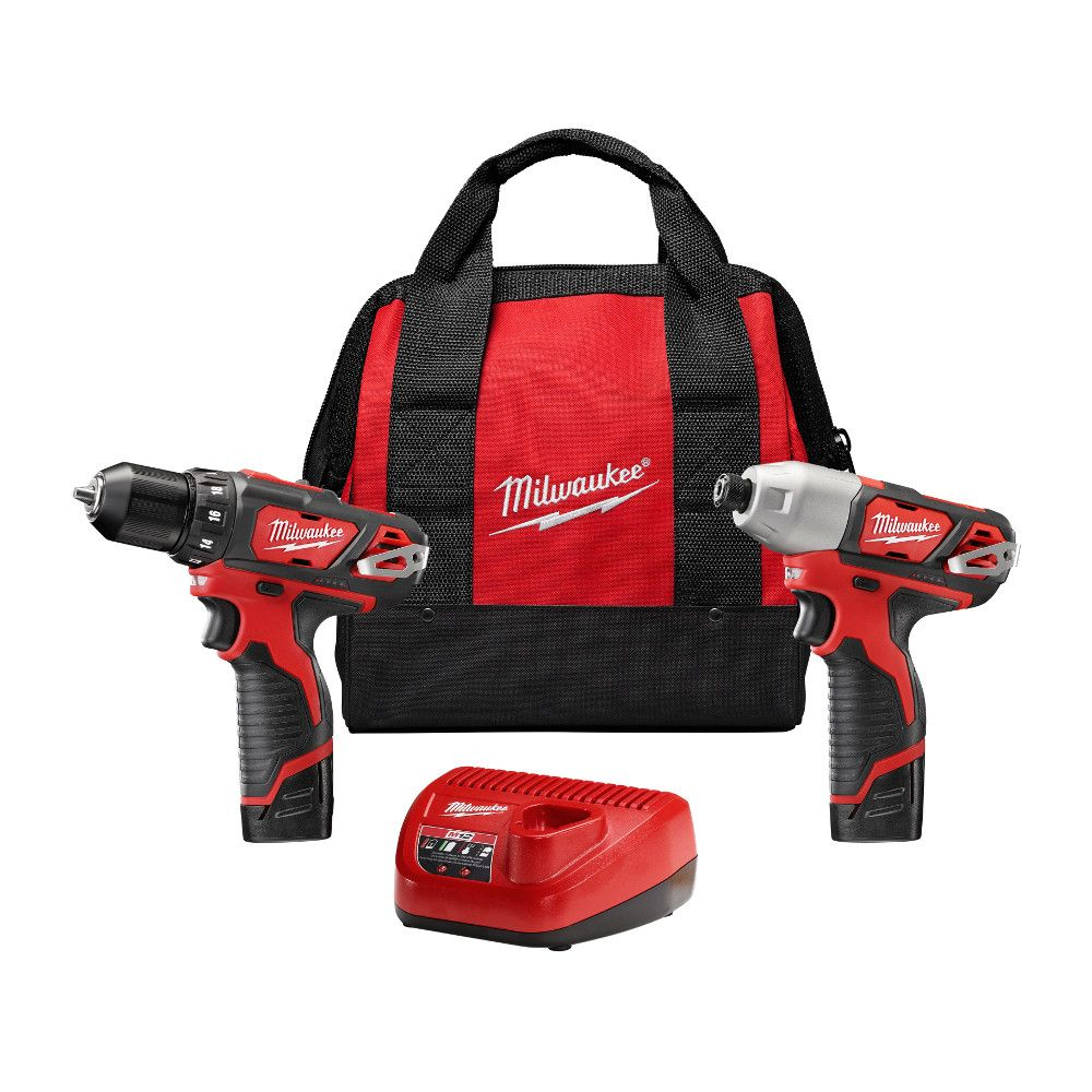 Milwaukee Tool M12 12V Lithium-Ion Cordless Drill Driver/Impact Driver Combo Kit (2-Tool) with (2) 1.5Ah Batteries, Charger, Tool Bag