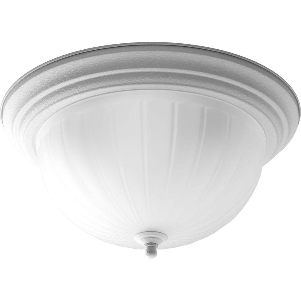 Fluorescente de Plafonnier à 3 Lumières - fini Blanc