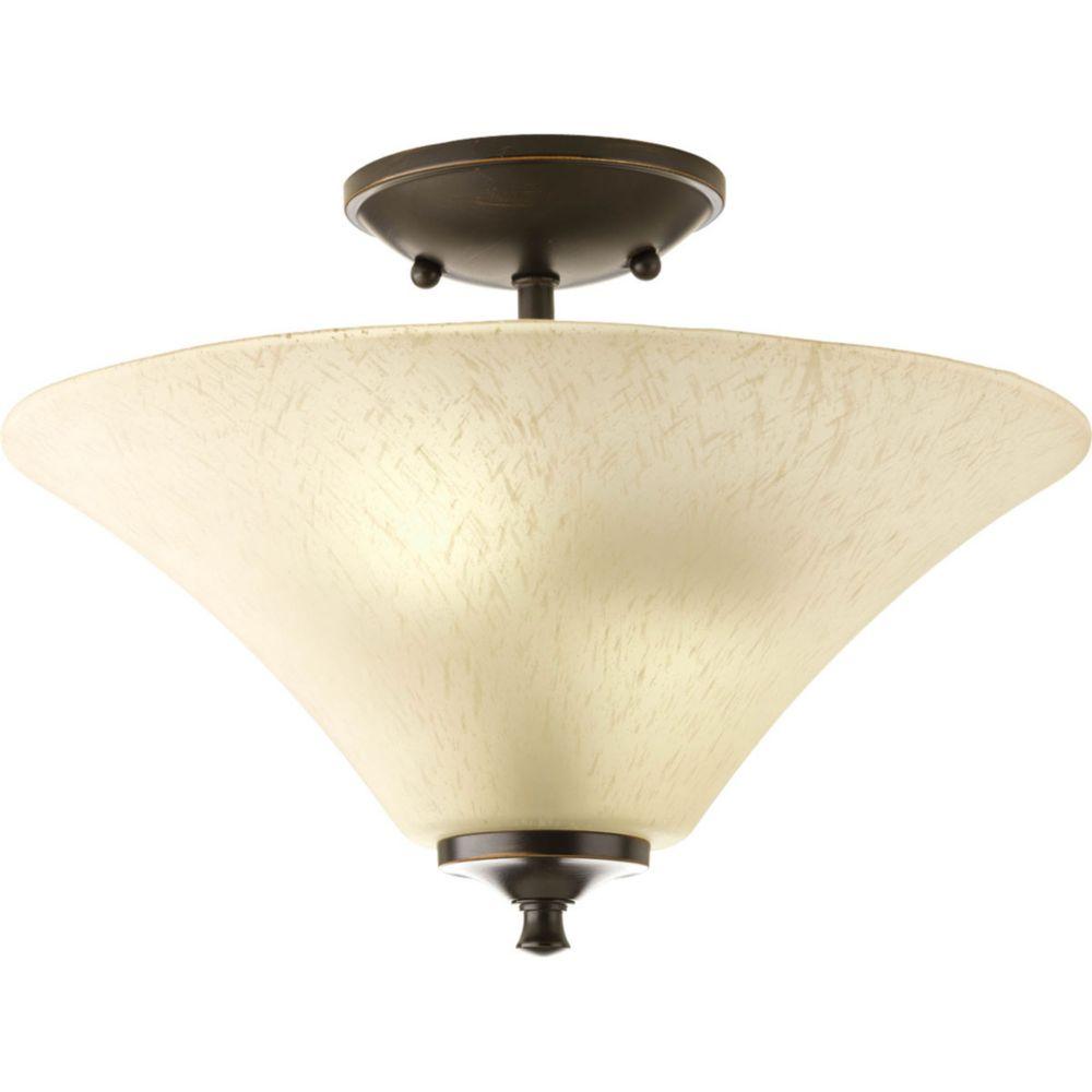 2 Light Antique Bronze Semi-flushmount