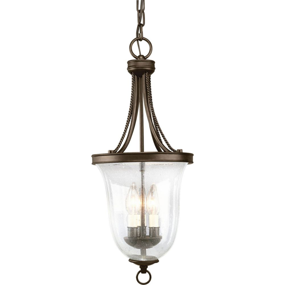 progress lighting lustre de vestibule 3 lumi res collection seeded glass fini bronze l. Black Bedroom Furniture Sets. Home Design Ideas