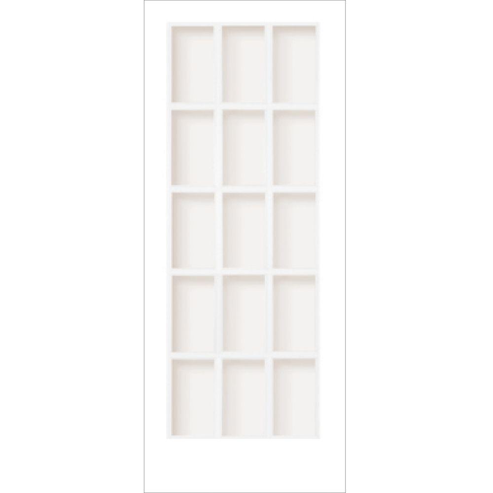 """Porte française 15 verres """"Clair"""" en apprêt blanc - 34x80"""