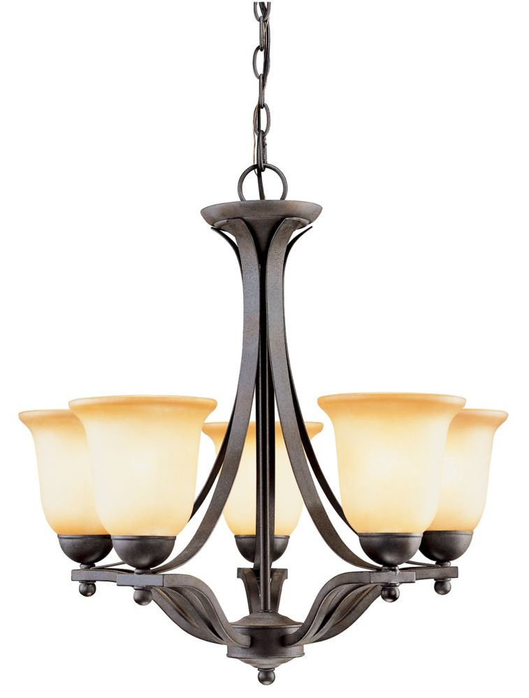 Hampton Bay 5 Light Rustic Iron Chandelier With Antique