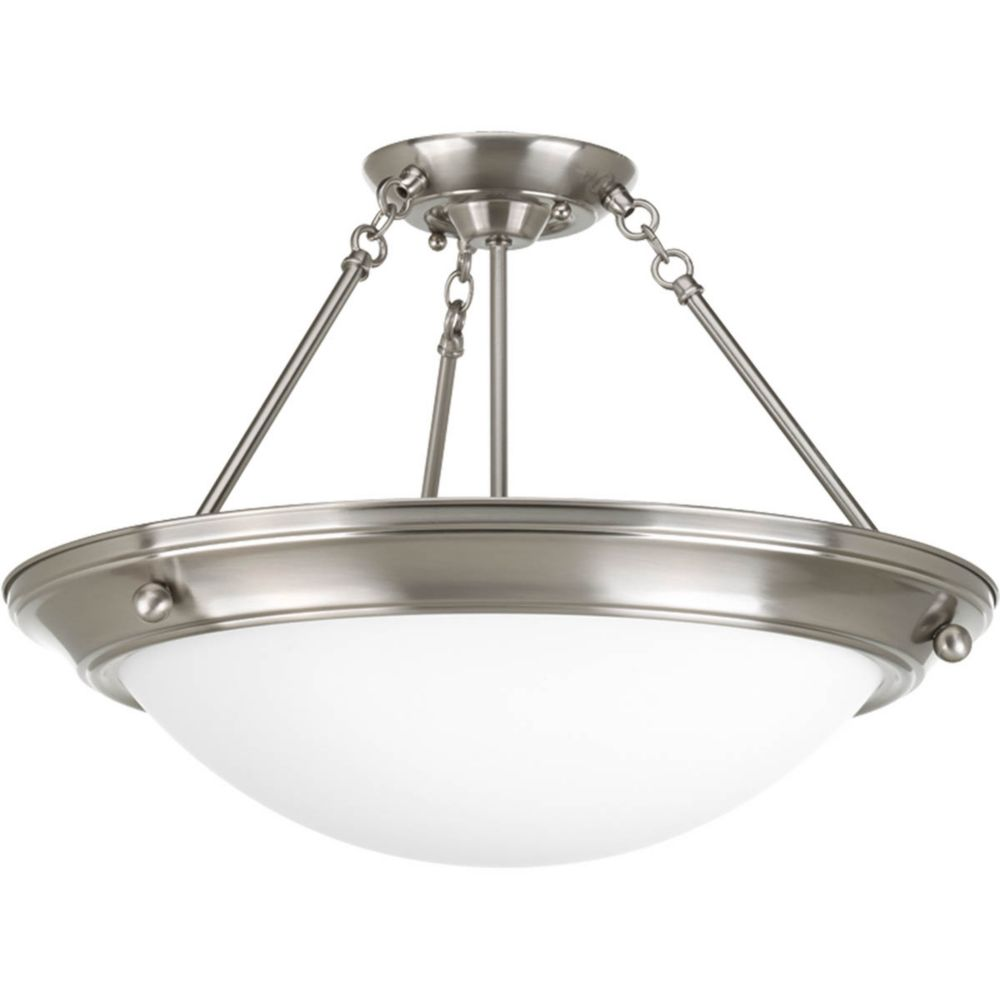 Eclipse Collection 3 Light Brushed Nickel Semi-flushmount
