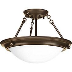 Fluorescente de Semi-plafonnier à 2 Lumières, Collection Eclipse - fini Bronze à l'Ancienne