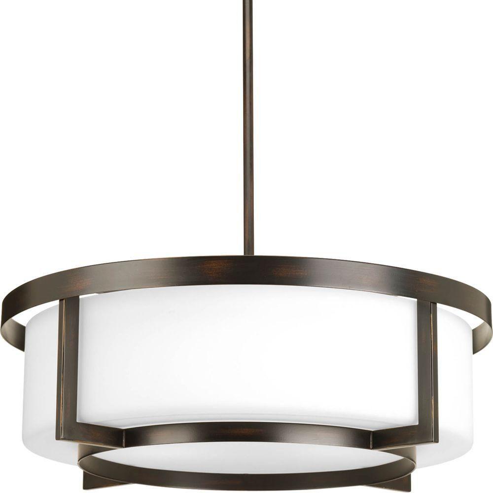 Fluorescente de Semi-plafonnier à 4 Lumières, Collection Dynamo - fini Bronze à l'Ancienne