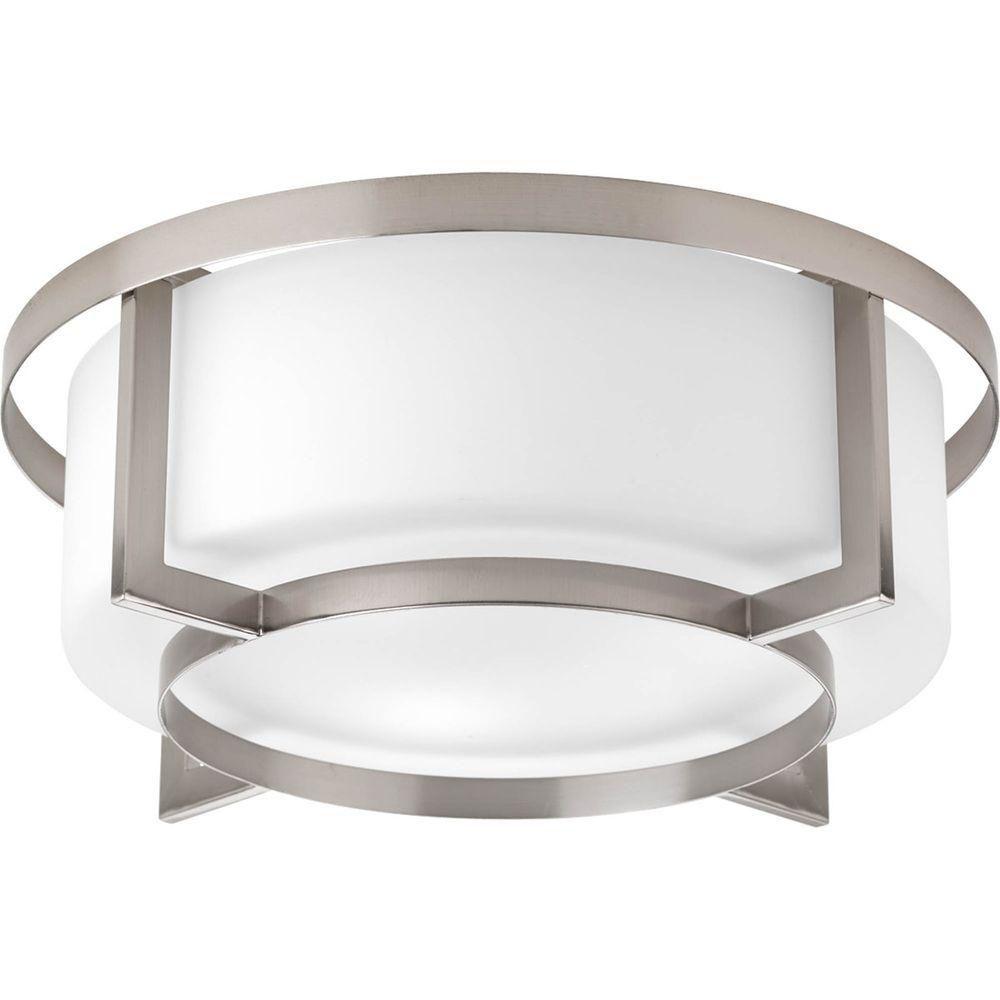 Fluorescente de Plafonnier à 4 Lumières, Collection Dynamo - fini Nickel Brossé