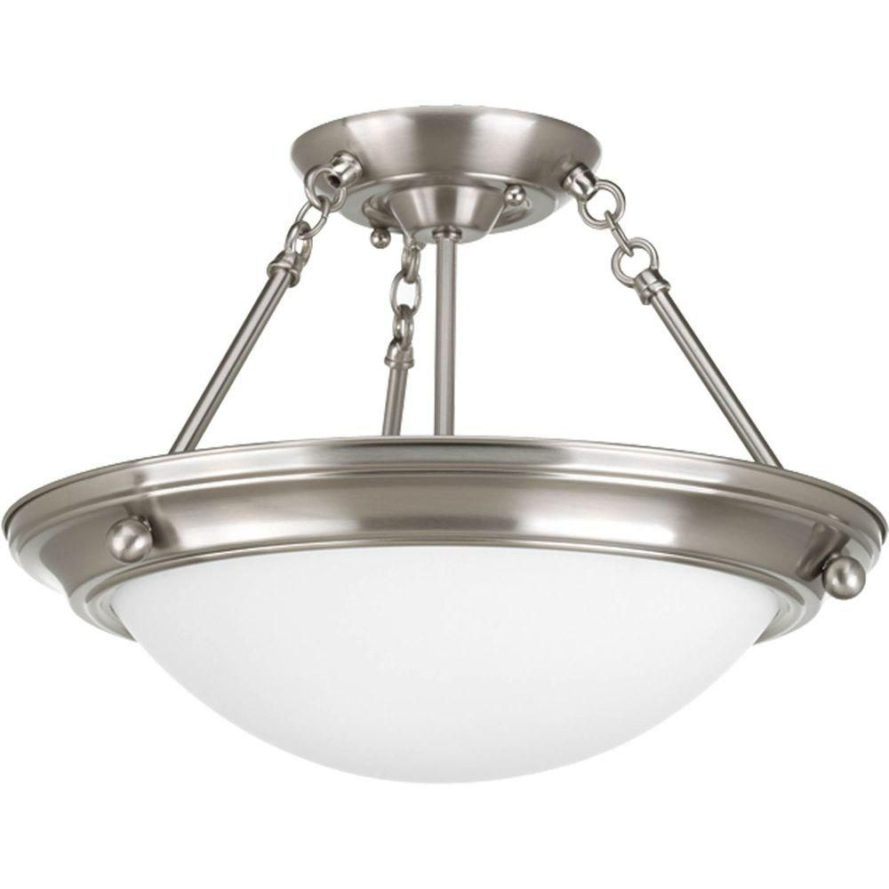 Eclipse Collection 2 Light Brushed Nickel Semi-flushmount