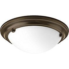Fluorescente de Plafonnier à 2 Lumières, Collection Eclipse - fini Bronze à l'Ancienne