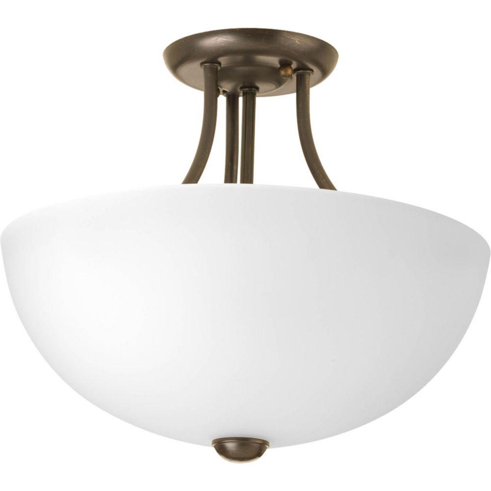 Fluorescente de Semi-plafonnier à 2 Lumières, Collection Random - fini Bronze à l'Ancienne