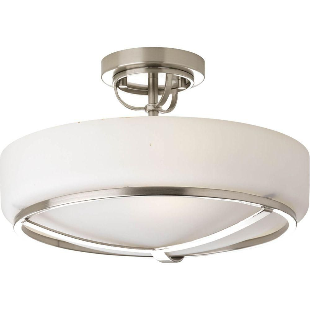 Torque Collection 3 Light Brushed Nickel Semi-flushmount