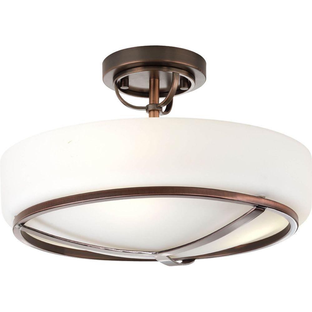 Torque Collection 3 Light Copper Bronze Semi-flushmount
