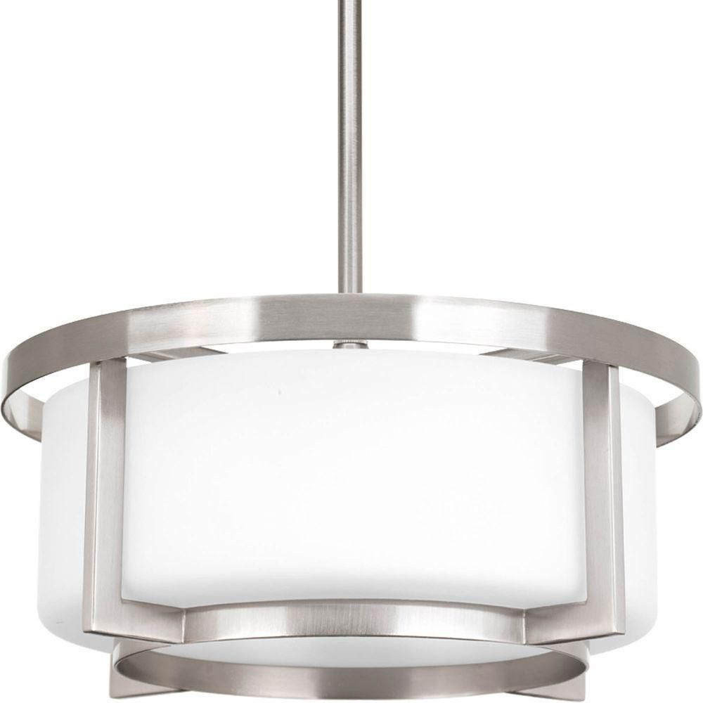 Progress Lighting Dynamo Collection 2 Light Brushed Nickel Semi Flushmount The Home Depot Canada