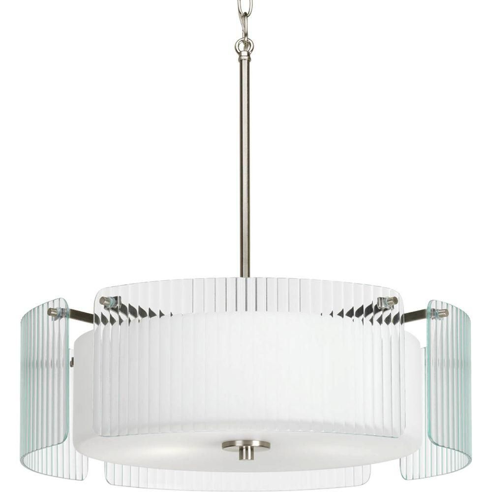 Coupe Collection 3 Light Brushed Nickel Semi-flushmount