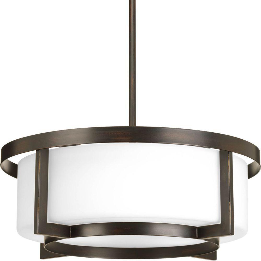 Fluorescente de Semi-plafonnier à 3 Lumières, Collection Dynamo - fini Bronze à l'Ancienne