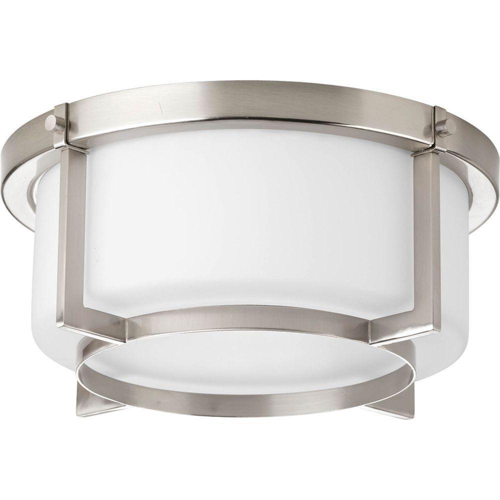 Fluorescente de Plafonnier à 2 Lumières, Collection Dynamo - fini Nickel Brossé