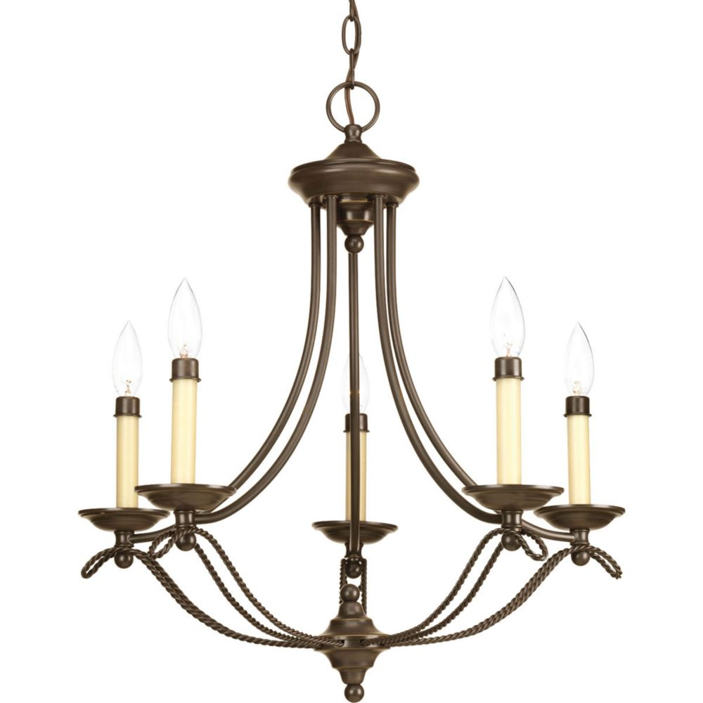 Progress lighting avalon collection 5 light antique bronze chandelier the home depot canada - Can light chandelier ...