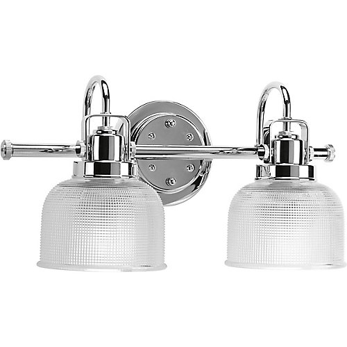 Archie Collection 2-Light Vanity Light in Chrome with Adjustable Prismatic Glass Shades