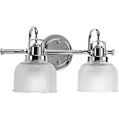 Archie Collection 2-Light Bath Fixture in Chrome with Adjustable Prismatic  Glass Shades