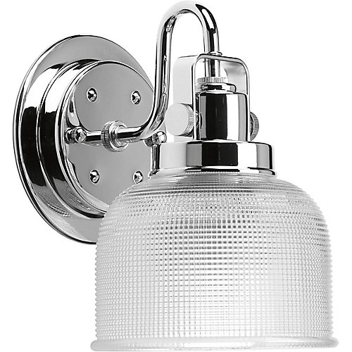 Archie Collection 1-Light Chrome Vanity Light with Prismatic Glass Shades