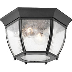 Roman Coach Collection 2 Light Black Outdoor Flushmount