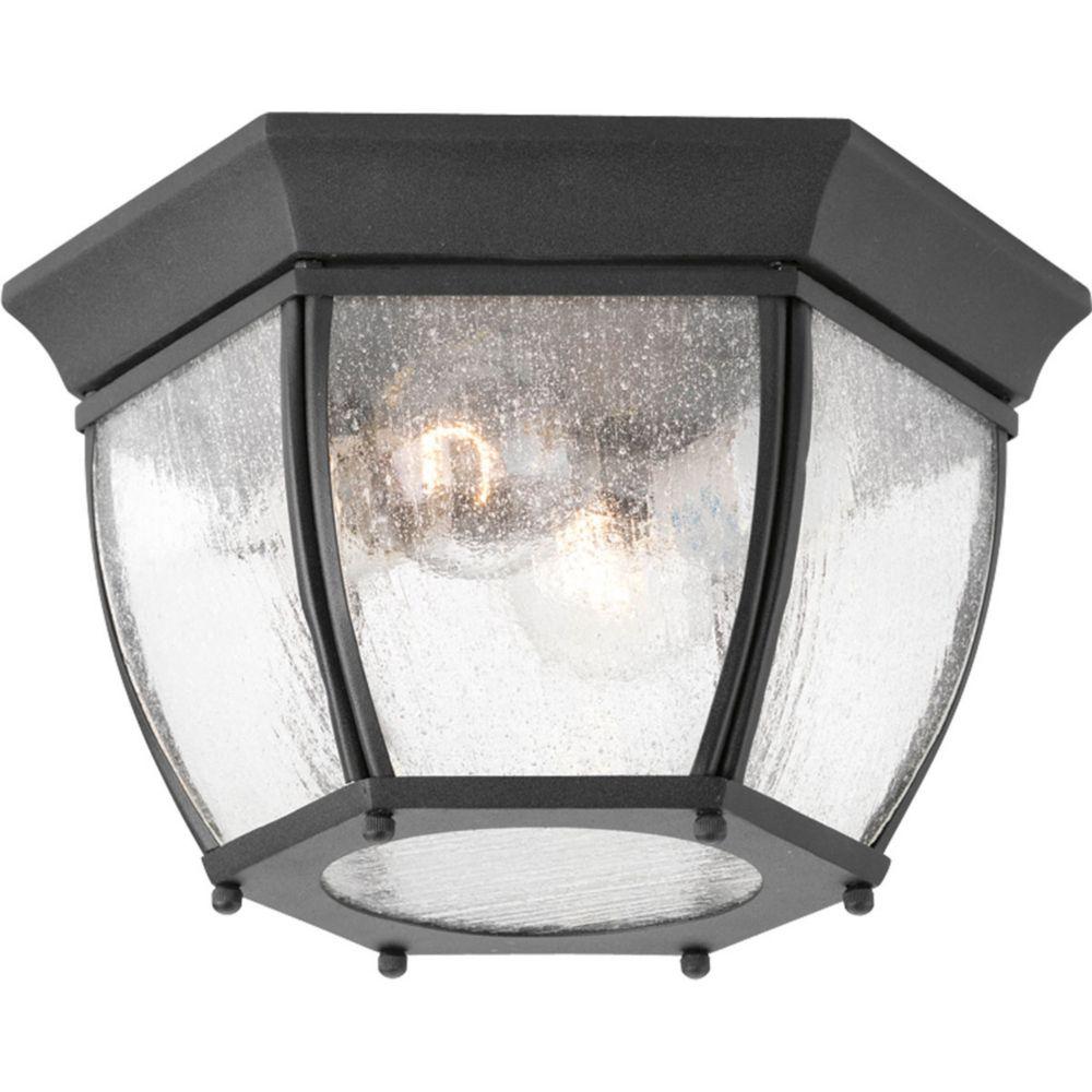 Plafonnier extérieur à 2 Lumières, Collection Roman Coach - fini Noir