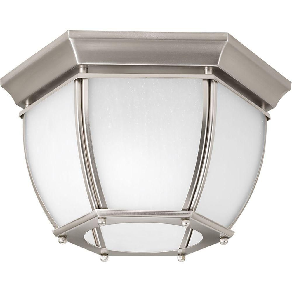 Roman Coach Collection 2 Light Brushed Nickel Outdoor Flushmount