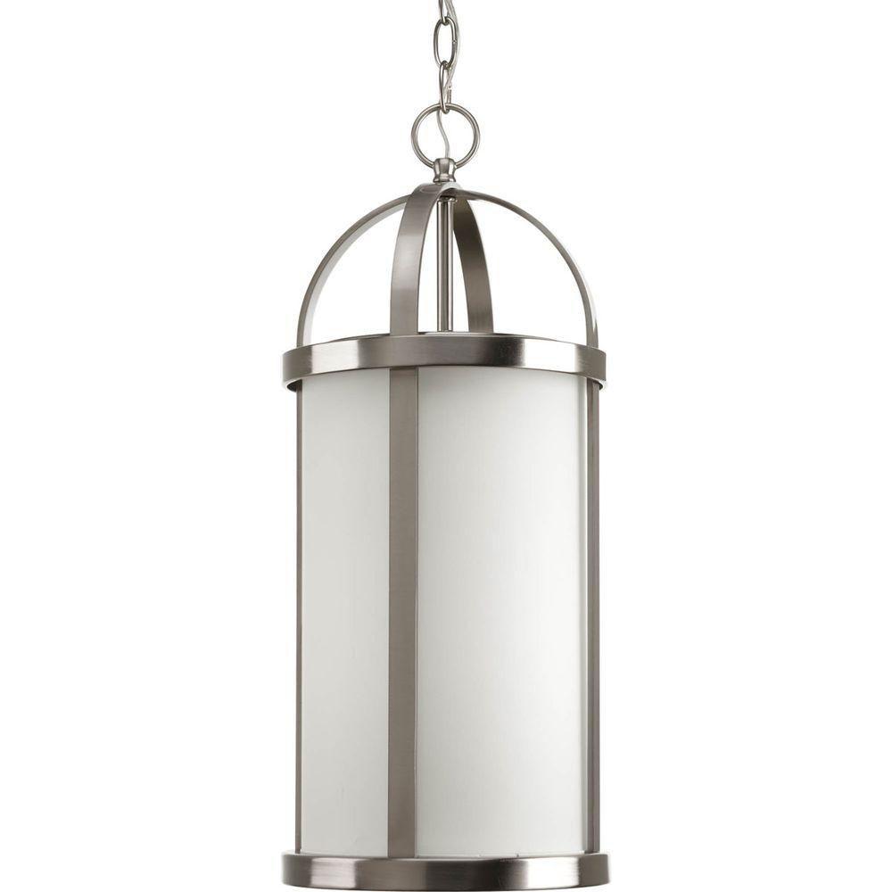 Greetings Collection 1 Light Brushed Nickel Hanging Lantern