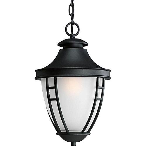 Fluorescente de Lanterne suspendue à 1 Lumière, Collection Fairview - fini Noir