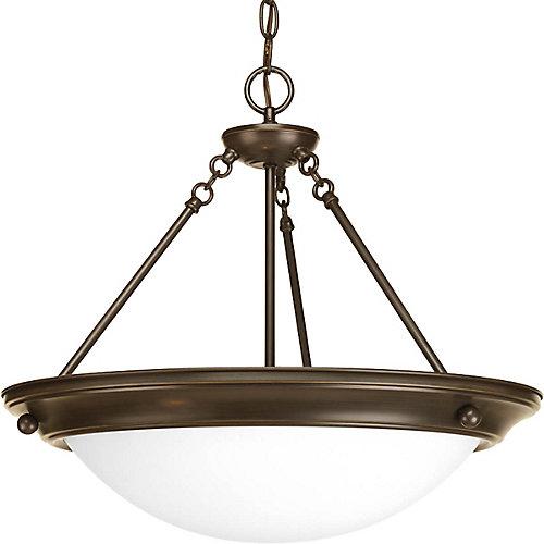 Fluorescente de Lustre de vestibule à 3 Lumières, Collection Eclipse - fini Bronze à l'Ancienne