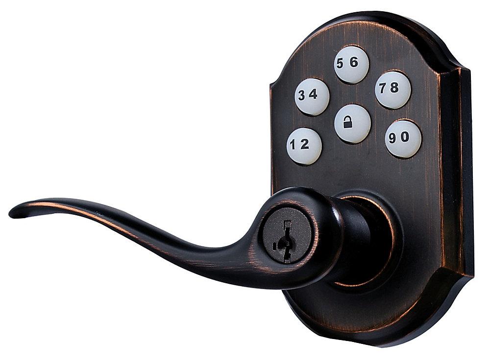 Toluca Venetian Bronze Keyless Entry SmartCode Lever Handleset with SmartKey
