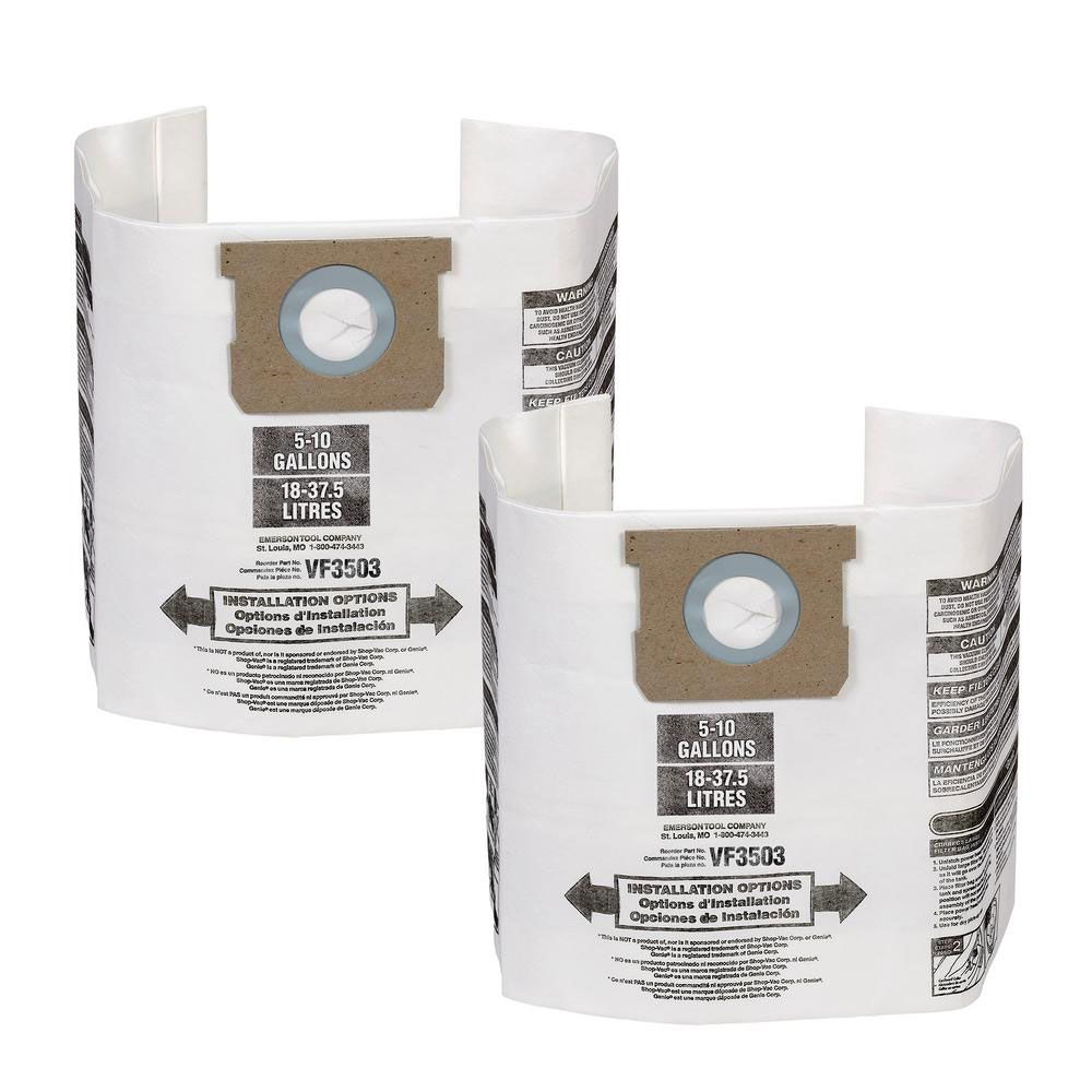 High-Efficiency Dust Bags for RIDGID 22 to 34 L (6-9 Gal.) Wet/Dry Vacs (2-Pack)