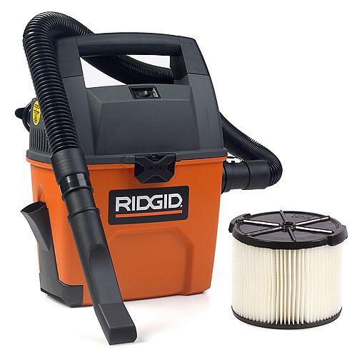RIDGID Aspirateur sec/humide portatif 11 litres (3 gal), 3,5 HP crête