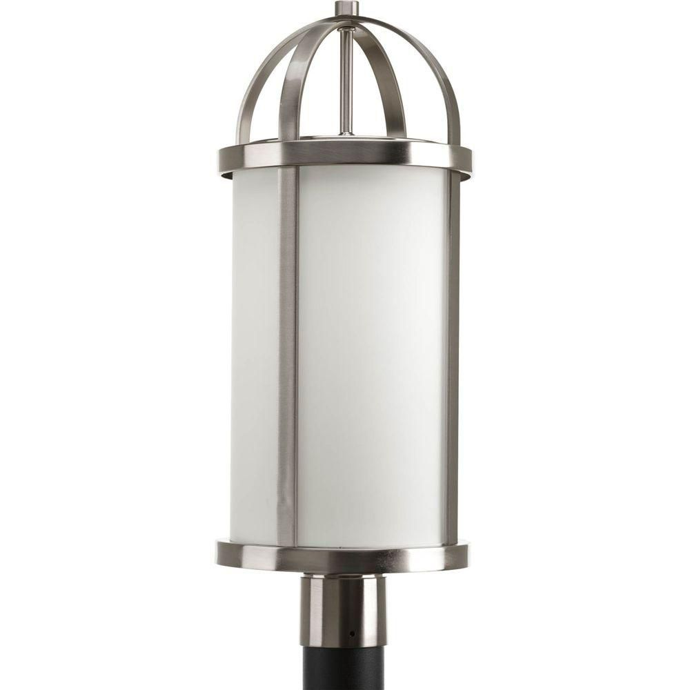 Greetings Collection 1 Light Brushed Nickel Post Lantern