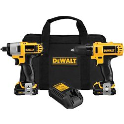DEWALT 12V MAX Li-Ion Cordless Drill/Driver and Impact Combo Kit (2-Tool) w/ (2) Batteries 1.5Ah, Charger and Bag