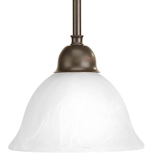 Fluorescente de Mini suspension à 1 Lumière, Collection Avalon - fini Bronze à l'Ancienne