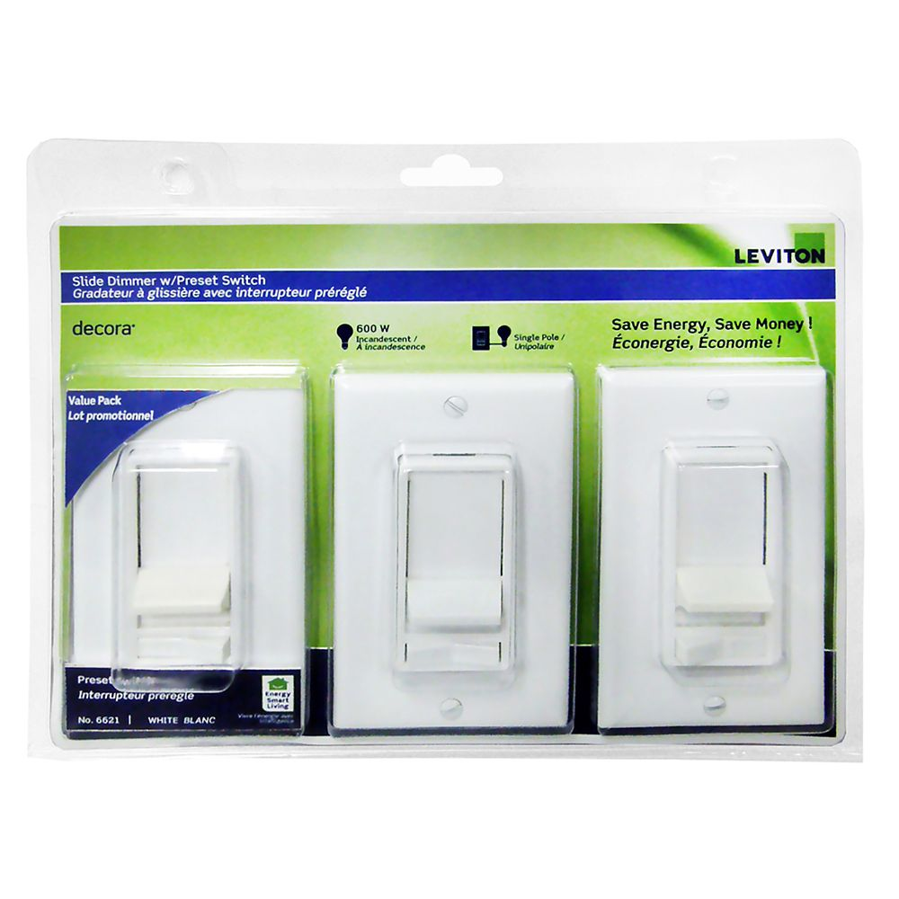 Decora SureSlide Dimmer with Preset Switch Single Pole 600W, 3 Pack, White