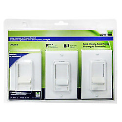 Decora SureSlide incandescent slide dimmer with preset, (3-Pack)