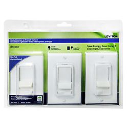 Leviton Decora SureSlide incandescent slide dimmer with preset, (3-Pack)