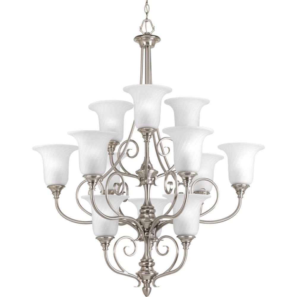 Lustre à 12 Lumières, Collection Kensington - fini Nickel Brossé